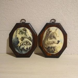 Beaded Glass Wolf Plaques